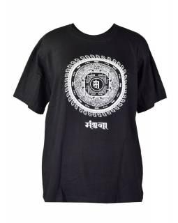 Černé triko s krátkým rukávem, bílý potisk mandala s mantrou