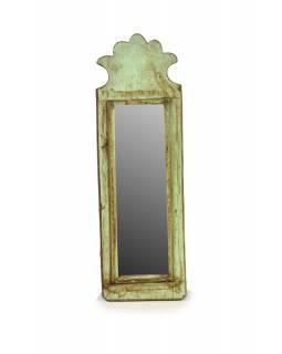 Zrcadlo v rámu z antik dřeva, tyrkysové, 12x37x3cm