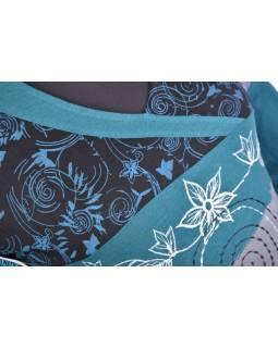 Šedo-modré tričko se sametem a dlouhým rukávem, výšivka, V výstřih