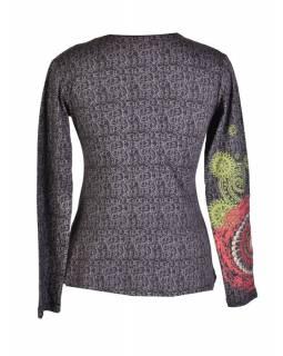 Černé tričko s dlouhým rukávem, šedý celopotisk a barevná mandala, V výstřih