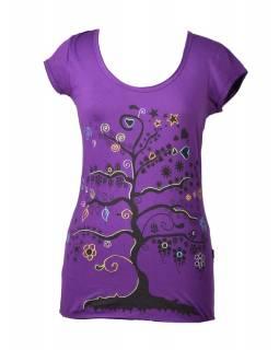 """Fialové tričko s krátkým rukávem a černým potiskem """"Tree"""" design"""