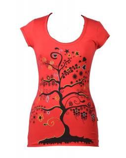 """Červené tričko s krátkým rukávem a černým potiskem """"Tree"""" design"""