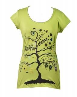 """Zelené tričko s krátkým rukávem a černým potiskem """"Tree"""" design"""