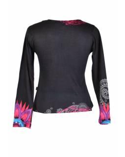 Černé tričko s dlouhým rukávem, Mandala potisk, kulatý výstřih