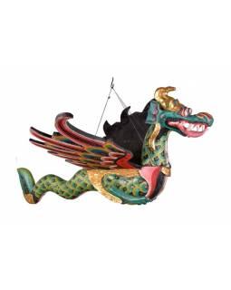 Závěsný drak, ručně vyřezaný z balzového dřeva, 110x60x120cm