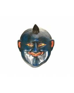 Dřevěná maska joker, tmavě modrá, 15x17cm