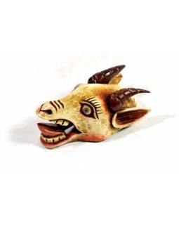 Dřevěná maska, kozí hlava, ručně vyřezávaná a barvená, 16x29cm