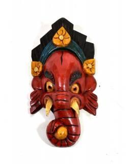 """Dřevěná maska, """"Ganéša"""", barevný, cca30x16cm"""