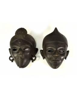 """Dřevěné masky set, muž a žena """"Tharo village"""", antik fin., 24x34/25x28cm"""
