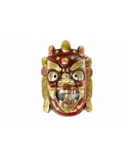 Dřevěná maska, Bhairab, červený zdobený mosazí a mědí 21x30cm
