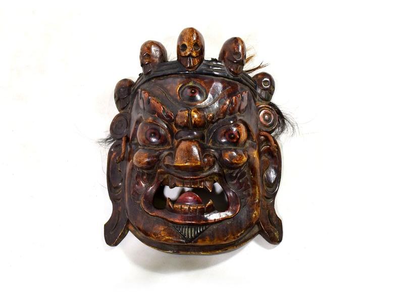 Dřevěná maska, Bhairab, antik patina,  29x32cm