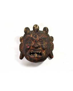 Stará dřevěná maska z Bhůtánu, Bhairab, 24x25cm