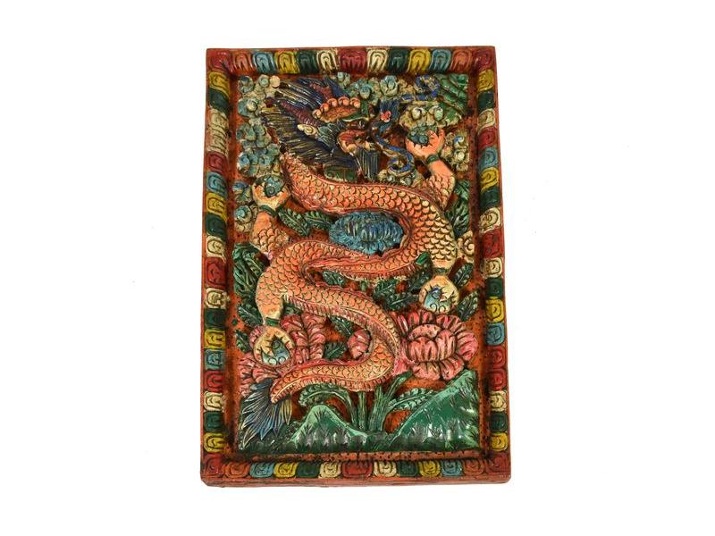 Vyřezávaný obraz Tibetský drak, ruční práce, malovaný, dřevo, 23x40cm