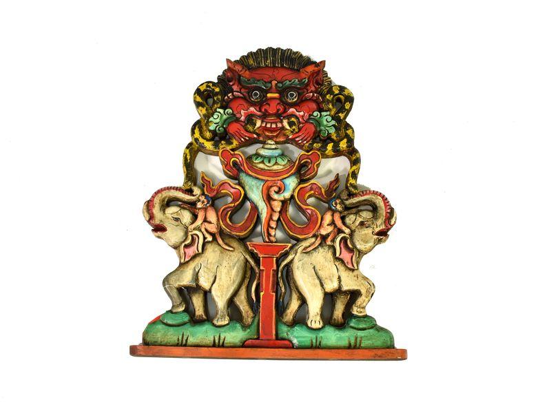 Vyřezávaný Cheppu se slony, ruční práce, malovaný, dřevo, 27x36cm