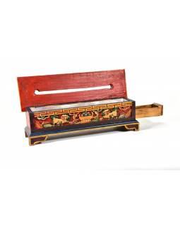 Krabička na pálení vonných tyčinek, vyřezávaná, malovaná, 37x11x12cm