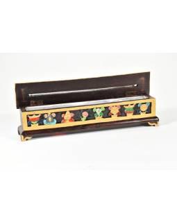 Krabička na pálení tyčinek, vyřezávaná, malovaná, 31x6x8cm