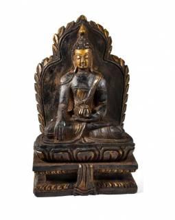 Dřevěná soška Buddha Šakjamuni, ruční práce, antik úprava, 20cm