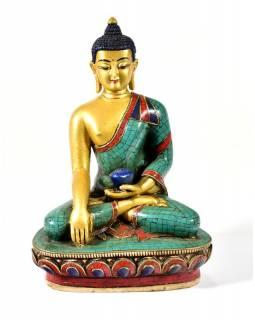 Soška Buddhy Shakjamuniho, pozlacená a zdobená polodrahokamy, 20cm