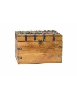 Truhla z teakového dřeva, železné kování, 28x20x18cm