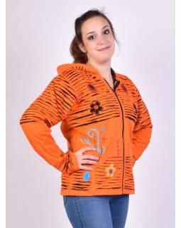 Oranžová mikina s kapucí a prostřihy, zapínání na zip, kapsy, květinový design