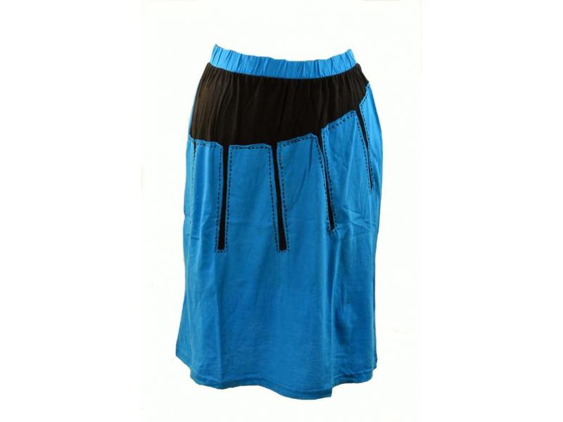 Krátká tyrkysovo černá sukně s prostřihem slunce, pružný pas