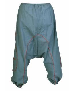 Šedo-vínové turecké kalhoty se spirálou, kapsy, elastický pas