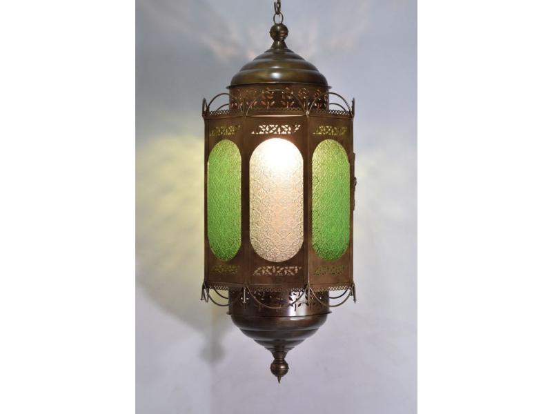Osmiboká kovová prosklená lampa v orientálním stylu, 95cm