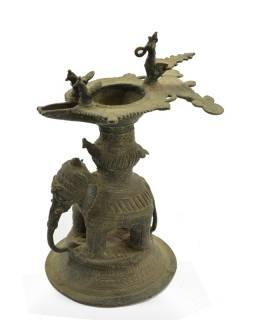 Antik mosazná olejová lampa, South India, 22x16cm