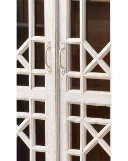 Prosklená skříň z antik teakového dřeva, bílá patina, 95x43x182cm