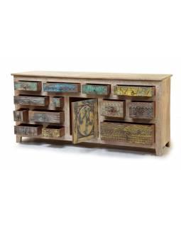 Komoda z antik teakového dřeva, dvířka s ručními řezbami, 181x44x84cm