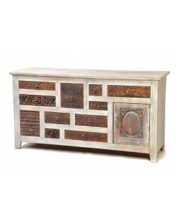 Komoda z antik teakového dřeva, šuplíky s ručními řezbami, 142x45x75cm