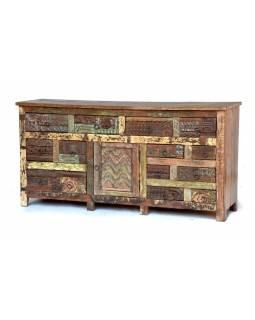 "Komoda z antik teakového dřeva, ""GOA"" styl, 91x46x181cm"