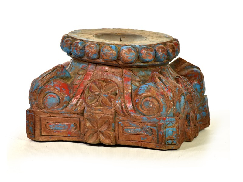 Antik svícen, teak, vyřezávaný, tyrkysový, 28x28x13cm