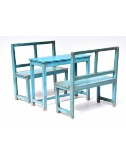 Dvě lavice a stůl, antik teak, modrá patina, 90x34x90cm