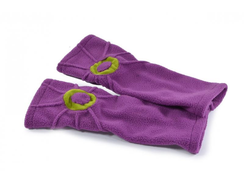 Fialové fleecové rukavice - návleky s prošíváním