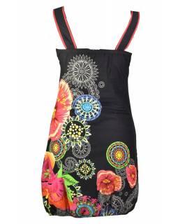 """Černé šaty bez rukávu """"Savanna"""" s barevnými květinami, kapsy"""