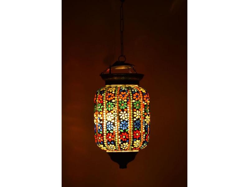 Skleněná mozaiková lampa, multibarevná, ruční práce, 18x28cm