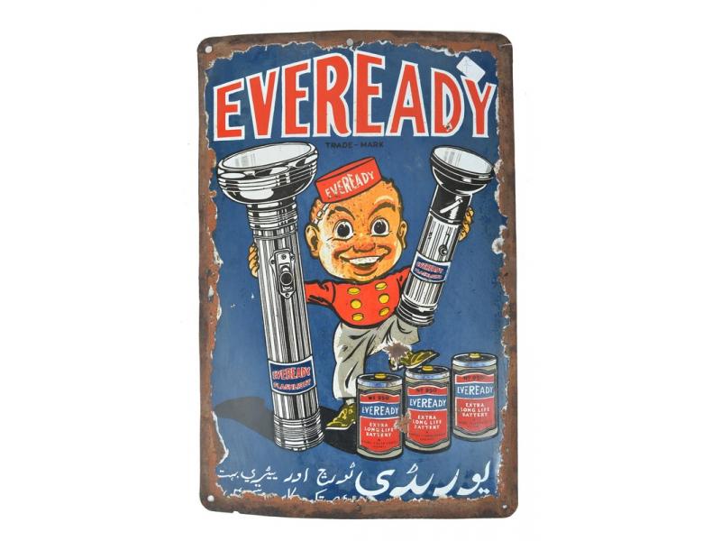 """Kovová antik reklamní cedule na stěnu, """"Eveready Flash Light"""", 30,5x45,5cm"""