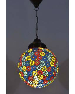 Kulatá skleněná mozaiková lampa, multibarevné květiny, ruční práce, 25x27cm