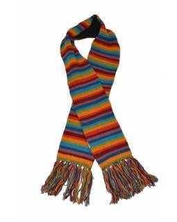 Pruhovaná vlněná šála v duhových barvách s třásněmi