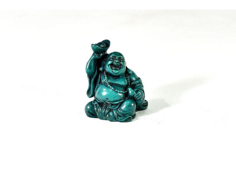Buddha, smějící, tyrkysový, jedna ruka nahoře s miskou, pryskyřice, 5cm