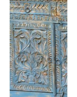 Komoda z antik teakového dřeva, dvířka s ručními řezbami, 183x43x91cm