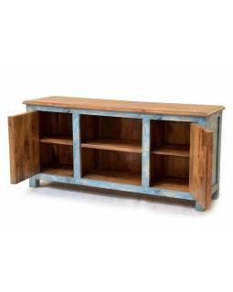 Komoda z antik teakového dřeva pod TV, 163x42x76cm