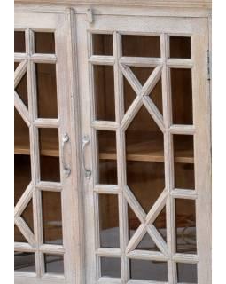 Komoda z antik teakového dřeva, s prosklenými dvířky, 183x43x112cm