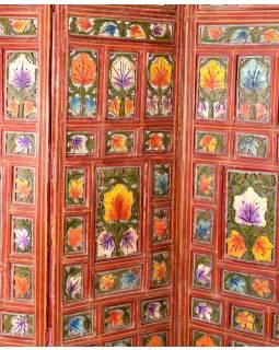 Paravan, dřevo, barevný, vyřezávaný, 5 panelů,  mango, 200x2,5x182cm