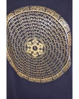 Černé triko s krátkým rukávem, zlatý potisk mandala s mantrou
