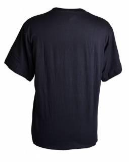 Černé triko s krátkým rukávem, bílý potisk Ganéš