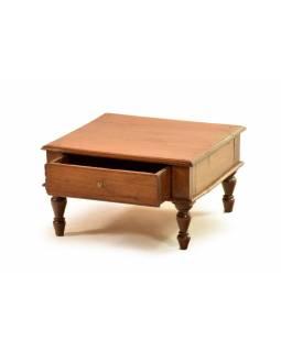 Stoleček z antik teakového dřeva se šuplíkem, 37x37x21cm