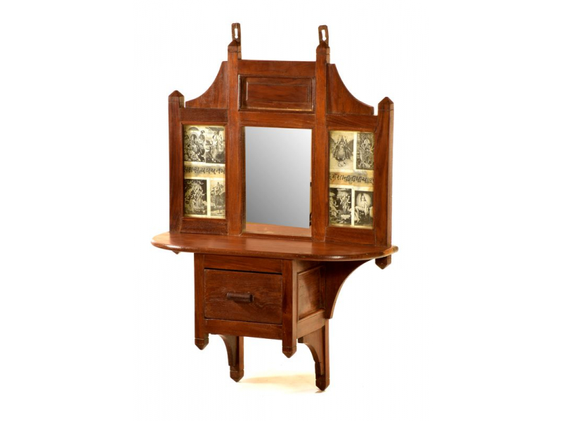 Zrcadlo v rámu z teakového dřeva se šuplíkem a poličkou, 54x20x74cm