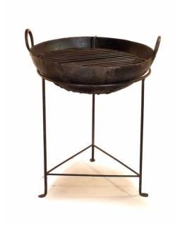 """Kovová mísa/ohniště """"Kadai"""" s roštem na stojanu, průměr 54cm, výška 70cm"""